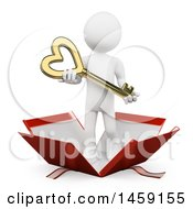 Clipart Of A 3d White Man Holding A Heart Key And Popping Out Of A Gift Box On A White Background Royalty Free Illustration