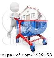 3d White Man Pushing A House In A Shopping Cart On A White Background