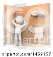 Clipart Of A 3d White Man Taking A Shower On A White Background Royalty Free Illustration