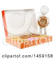 Clipart Of A 3d White Man With A Box Of Giant Donuts On A White Background Royalty Free Illustration