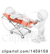 3d White Man On A Stretcher On A White Background