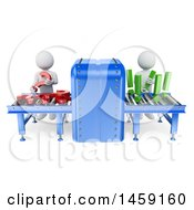Clipart Of A 3d Conveyor Belt With Men Questions And Answers On A White Background Royalty Free Illustration