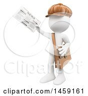 Clipart Of A 3d White Man Newsie On A White Background Royalty Free Illustration