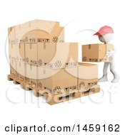 3d White Man Stacking Warehouse Boxes On A White Background