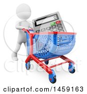 Clipart Of A 3d White Man With A Calculator In A Shopping Cart On A White Background Royalty Free Illustration