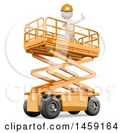 Clipart Of A 3d White Man Worker On A Platform On A White Background Royalty Free Illustration