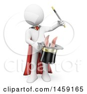Clipart Of A 3d White Man Magician With A Rabbit In A Hat On A White Background Royalty Free Illustration