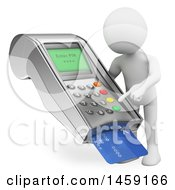 Poster, Art Print Of 3d White Man Using A Credit Card Machine On A White Background