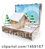Poster, Art Print Of 3d Log Cabin And Winter Landscape In A Suitcase On A White Background