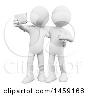 3d White Man Taking A Selfie With A Friend On A White Background