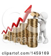3d White Man Stacking A Coin On A Growth Bar Graph On A White Background