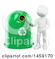 3d White Man Putting A Bottle In A Recycle Bin On A White Background