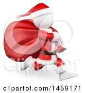 3d White Man Santa Running With A Sack On A White Background