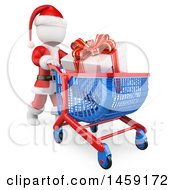 3d White Man Santa Pushing A Gift In A Shopping Cart On A White Background