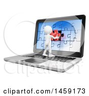 Poster, Art Print Of 3d White Man Inserting A Jigsaw Puzzle Piece On A Laptop Screen On A White Background