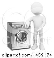 Clipart Of A 3d White Man Presenting A Washing Machine On A White Background Royalty Free Illustration