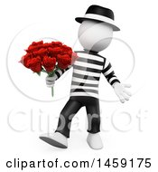 Poster, Art Print Of 3d White French Man With Roses On A White Background