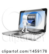 Poster, Art Print Of 3d White Man Using An Atm On A Laptop Screen On A White Background