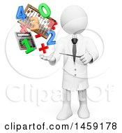Poster, Art Print Of 3d White Man Teacher With Math Items And Numbers On A White Background