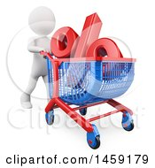 Poster, Art Print Of 3d White Man Pushing A Shopping Cart With A Percent Discount Symbol On A White Background