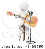 Clipart Of A 3d White Man Playing A Guitar And Singing On A White Background Royalty Free Illustration