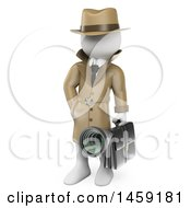 3d White Man Industrial Espionage Detective On A White Background