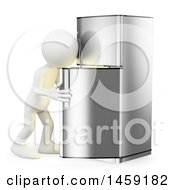 3d White Man Looking In A Fridge On A White Background