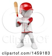 Poster, Art Print Of 3d White Man Playing Baseball On A White Background