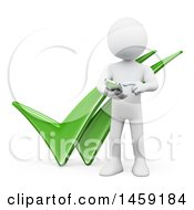 3d White Man Using A Cell Phone Over Two Tick Marks On A White Background