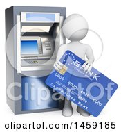 Poster, Art Print Of 3d White Man With A Bank Card At An Atm On A White Background