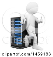 3d White Man Giving A Thumb Up And Leaning On A Server On A White Background