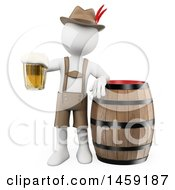 3d White Man Oktoberfest Guy With A Beer Mug And Barrel On A White Background