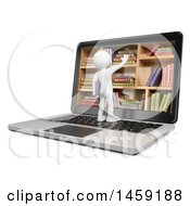 3d White Man On A Laptop Reaching Into A Library Shelf On A White Background