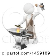 Clipart Of A 3d White Man Blacksmith Forging A Sword On A White Background Royalty Free Illustration