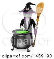 Poster, Art Print Of 3d White Man Witch Making A Potion On A White Background