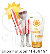 3d White Man With Sun Screen On A White Background