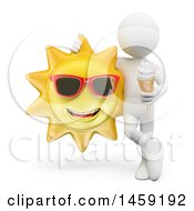 Poster, Art Print Of 3d White Man With Ice Cream And A Sun On A White Background