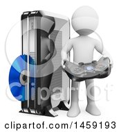Clipart Of A 3d White Man With A Game Console On A White Background Royalty Free Illustration