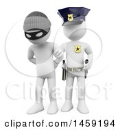 3d White Man Burglar Being Arrested On A White Background