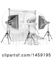 Clipart Of A 3d White Man Photographer And Model On A White Background Royalty Free Illustration