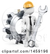 Clipart Of A 3d White Man Engineer With A Wrench And Gear On A White Background Royalty Free Illustration