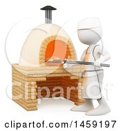 Clipart Of A 3d White Man Making Bread In A Brick Oven On A White Background Royalty Free Illustration