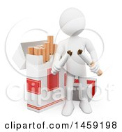 Clipart Of A 3d White Man Breaking A Cigarette On A White Background Royalty Free Illustration