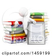 Clipart Of A 3d White Man With An E Reader And Books On A White Background Royalty Free Illustration