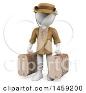 Poster, Art Print Of 3d White Man Traveler With Suitcases On A White Background