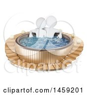 Poster, Art Print Of 3d White Couple In A Hot Tub On A White Background