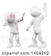 Clipart Of A 3d White Man Abusing Someone On A White Background Royalty Free Illustration