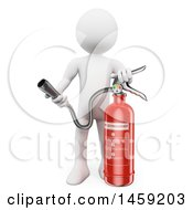 3d White Man With A Fire Extinguisher On A White Background