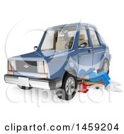Poster, Art Print Of 3d White Man Mechanic Working Under A Car On A White Background