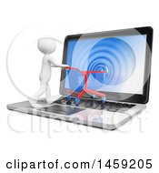 3d White Man Pushing A Shopping Cart Into A Laptop Screen On A White Background